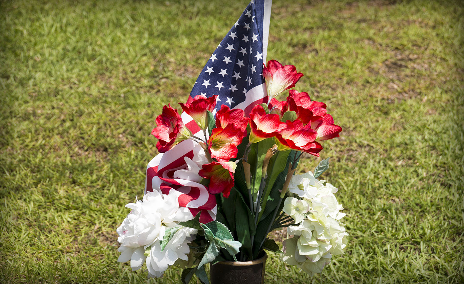 Patriotic Flower Arrangement - Rosewood Park Cemetery - East Texas