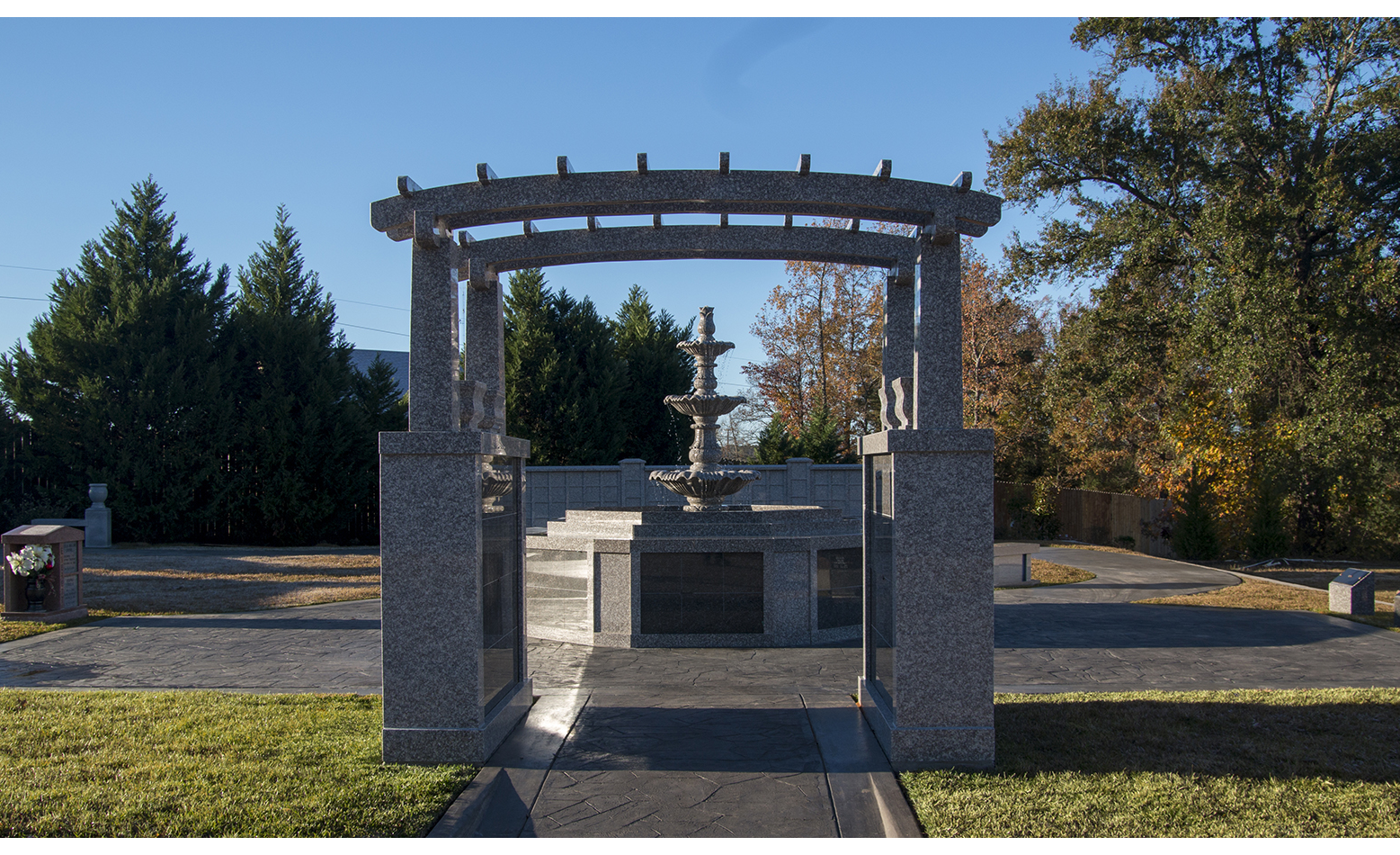 Serenity Cremation Garden Fountain and Trellis - Longview Cemetery